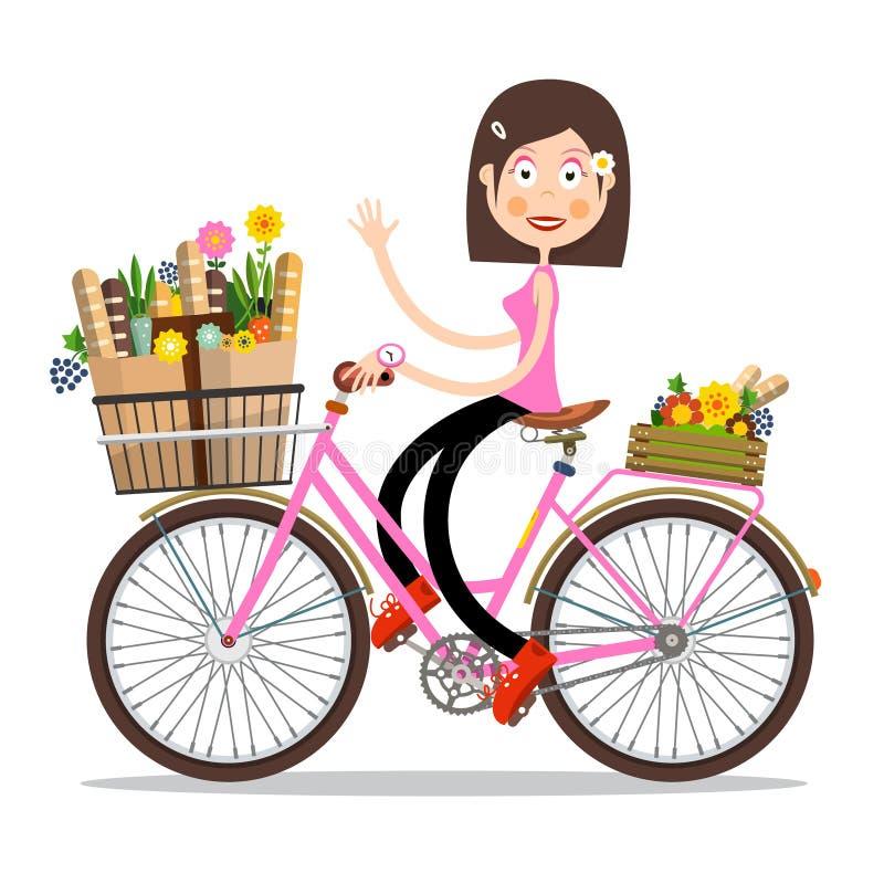 Усмехаясь развевая женщина на розовом велосипеде с цветками и багетами весны на корзине иллюстрация вектора