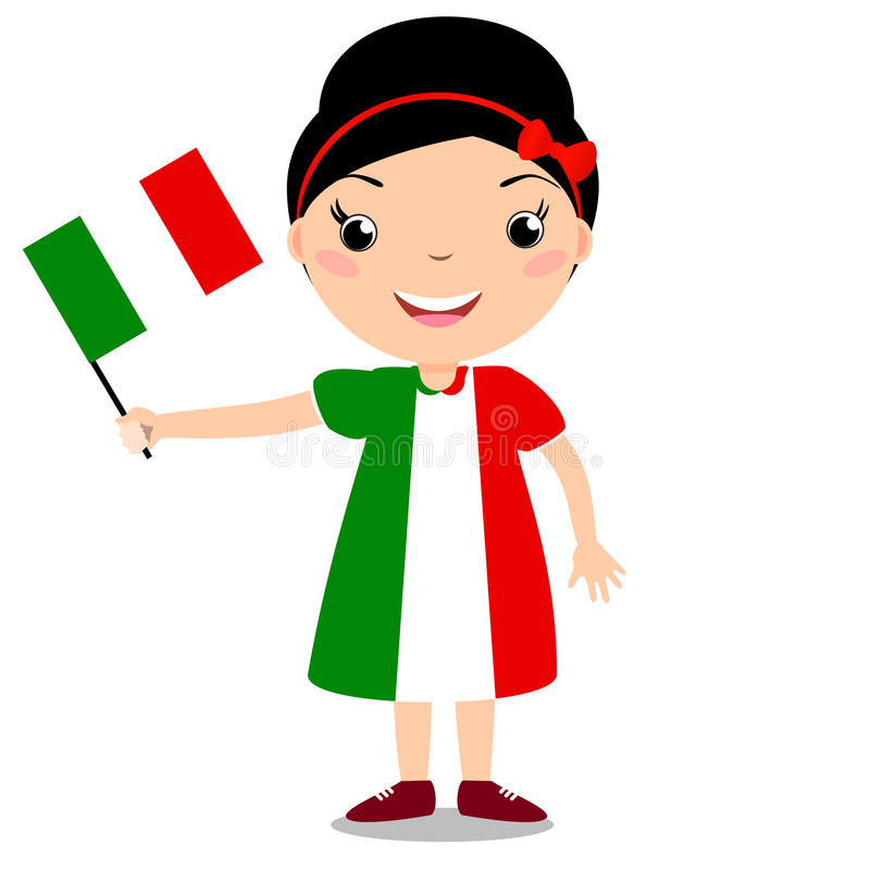 Усмехаясь ребенок, девушка, держа флаг Италии изолированный на задней части белизны иллюстрация штока