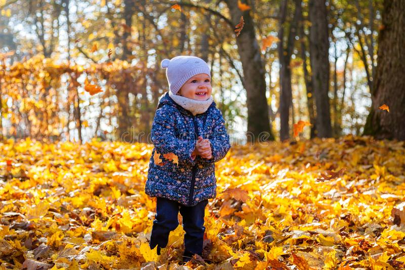 Усмехаясь ребенок играя с падая листьями стоковое изображение rf