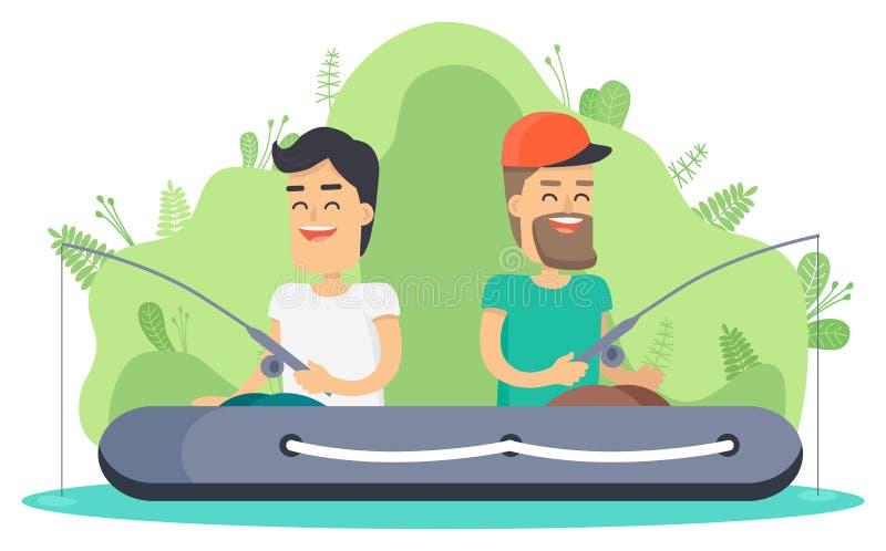 Усмехаясь рыбная ловля людей, раздувной вектор шлюпки иллюстрация вектора
