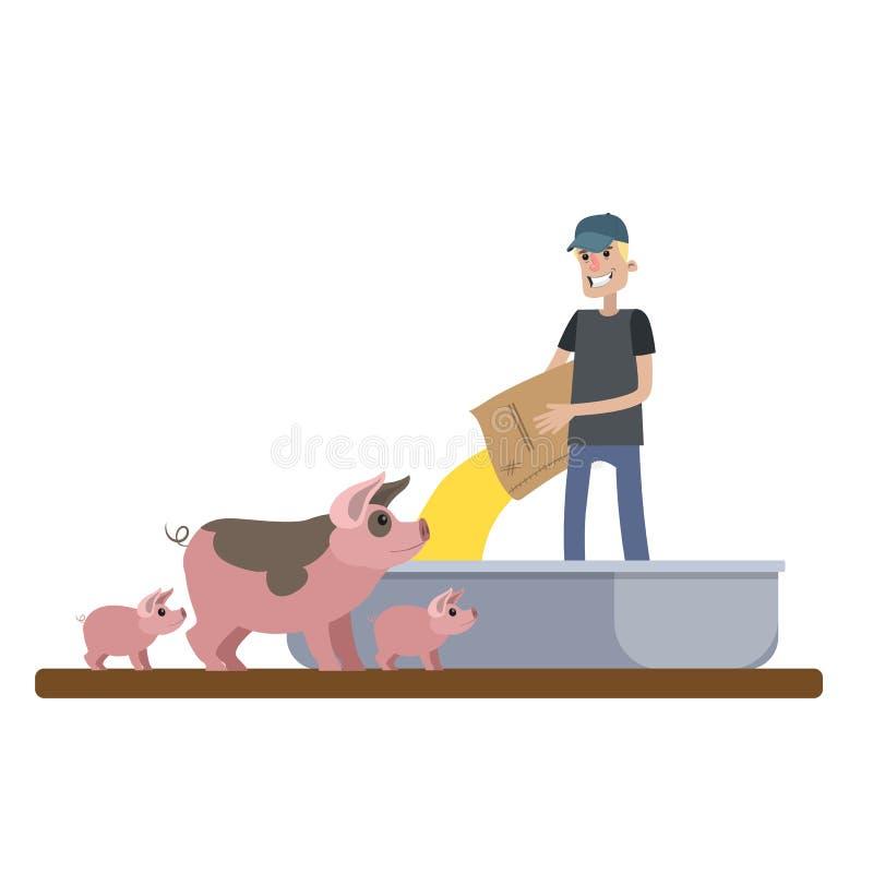 Усмехаясь свинья мужского фермера подавая на ферме иллюстрация вектора
