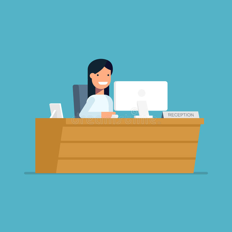 Усмехаясь секретарша сидя на компьютере в приеме Счастливая женщина ждет клиентов на рабочем месте вектор бесплатная иллюстрация
