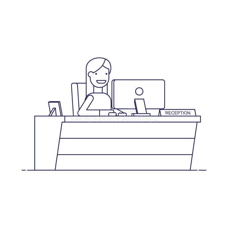 Усмехаясь секретарша сидя на компьютере в приеме Счастливая женщина ждет клиентов на рабочем месте Тонкая линия иллюстрация вектора