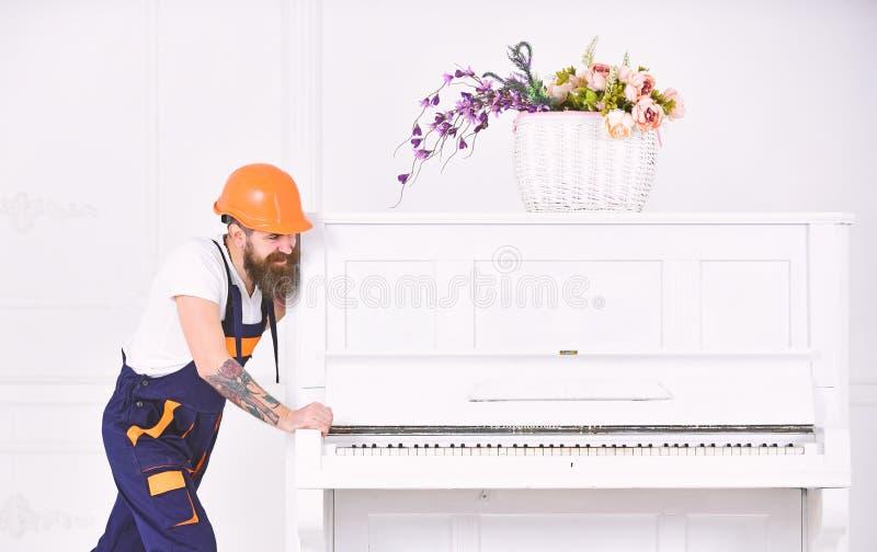 Усмехаясь сильный человек с стильной бородой и усик пробуя двинуть старый деревянный рояль с вазой цветка Красивый работник внутр стоковое фото rf
