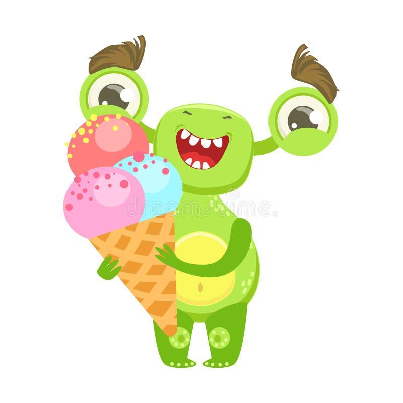 Усмехаясь смешной изверг держа мороженое в конусе, зеленеет стикер персонажа из мультфильма Emoji чужеземца иллюстрация штока