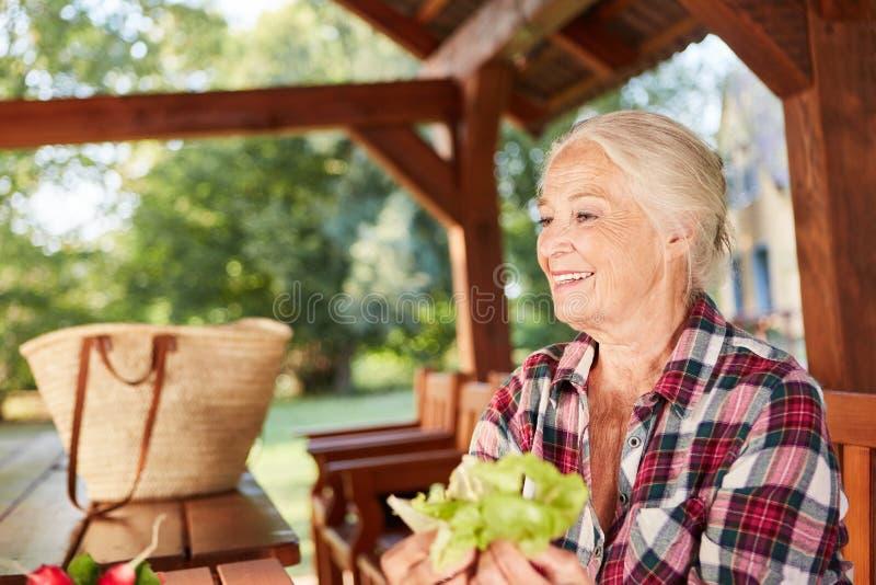 Усмехаясь старшая женщина со свежим салатом стоковые изображения rf