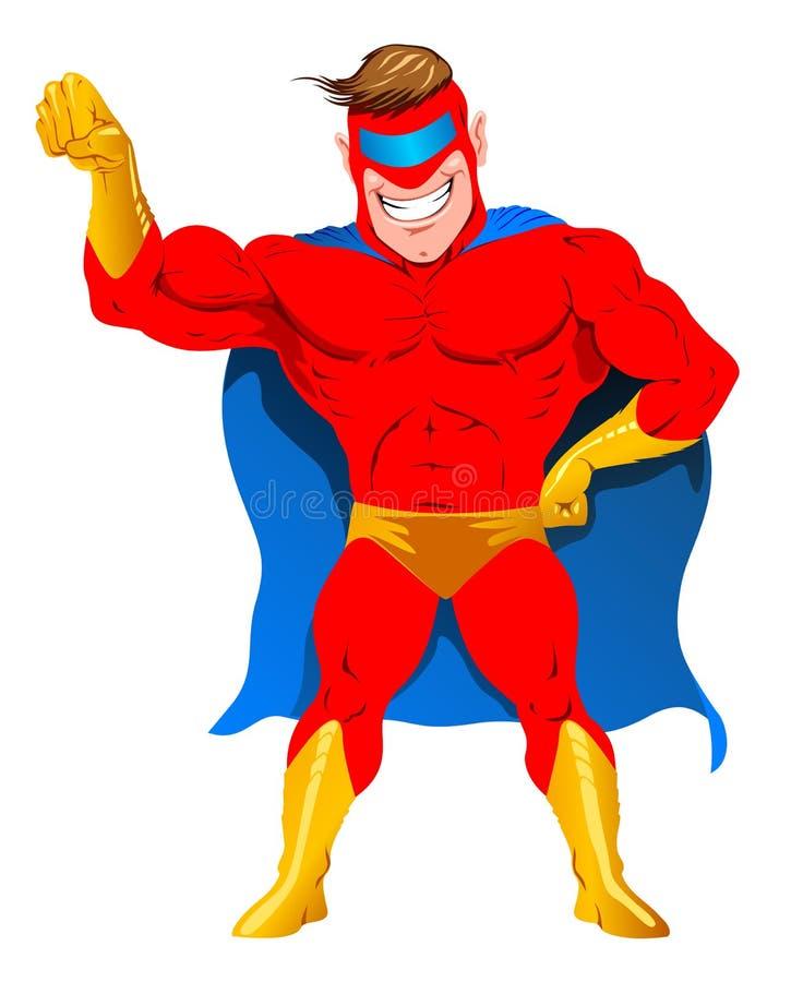 Усмехаясь супергерой в красном цвете иллюстрация штока