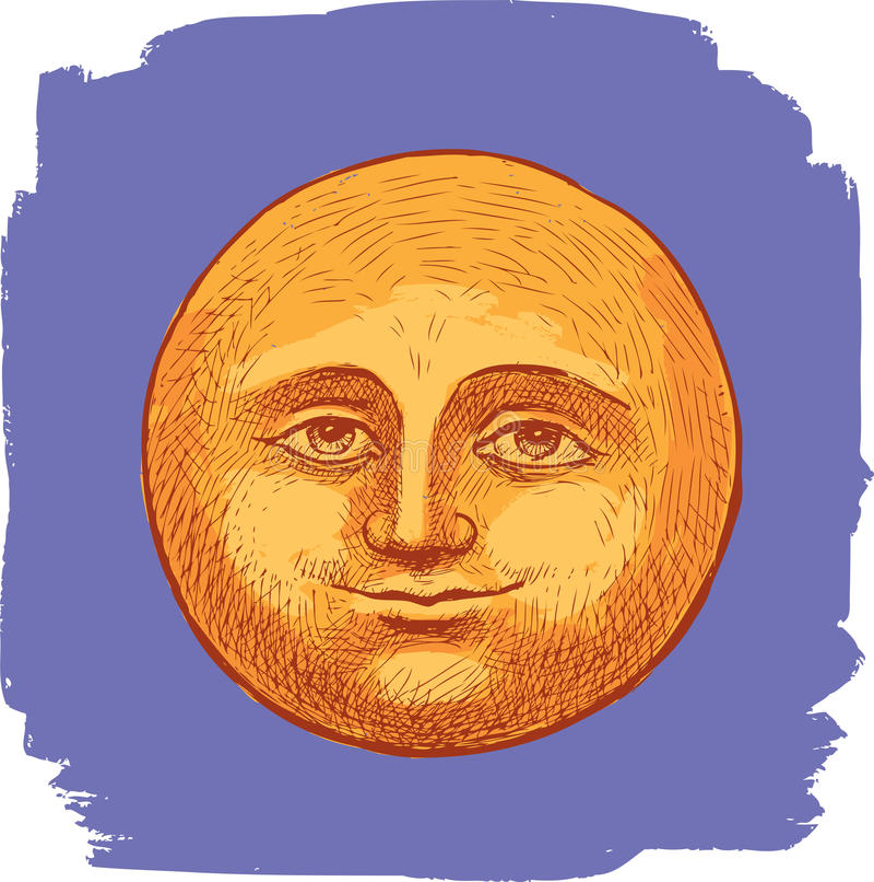 Усмехаясь луна в ночном небе иллюстрация штока