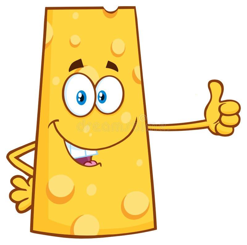 Усмехаясь характер талисмана шаржа сыра показывая большие пальцы руки вверх иллюстрация вектора