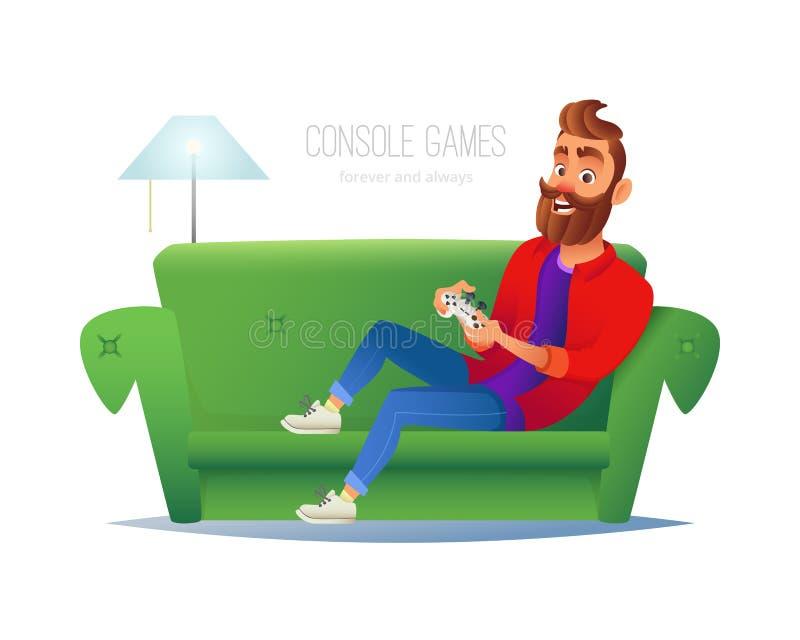 Усмехаясь человек играя консоль видеоигры дома Иллюстрация вектора с парнем битника сидит на софе, держит игру иллюстрация штока