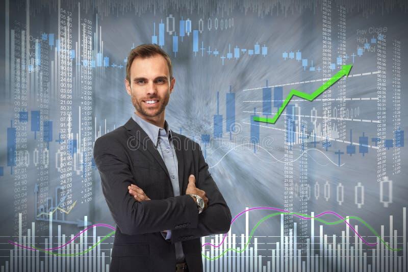 Усмехаясь человек инвестора стоковое изображение rf