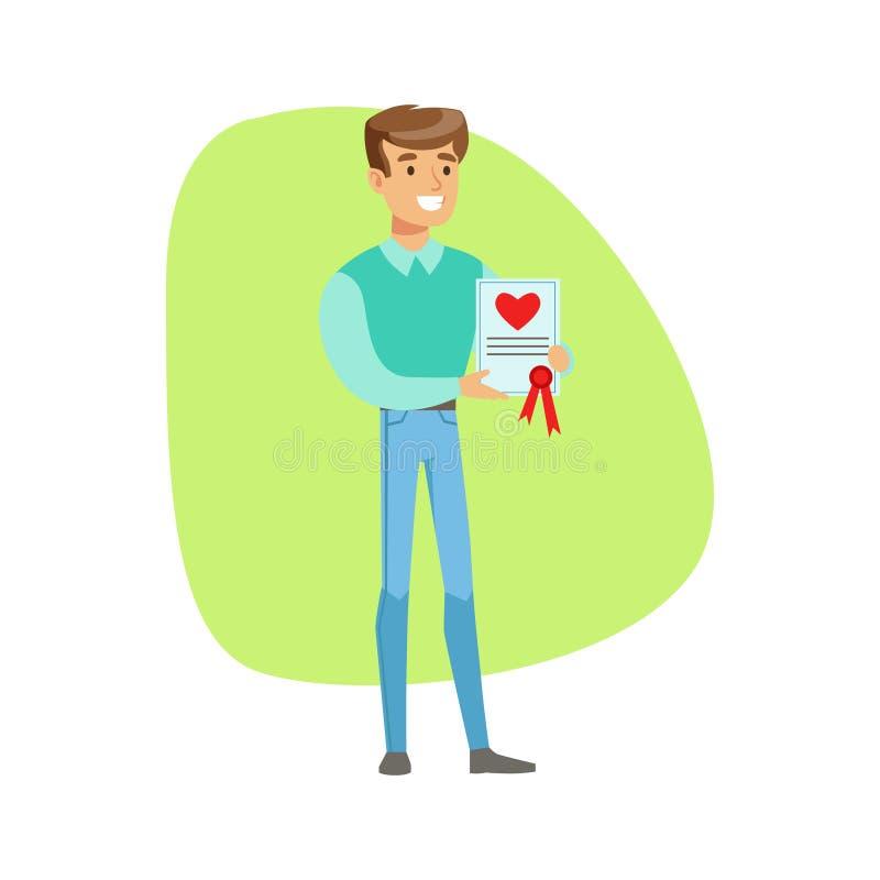 Усмехаясь человек держа страхование жизни Constract, страховую компанию обслуживает иллюстрацию Infographic иллюстрация штока