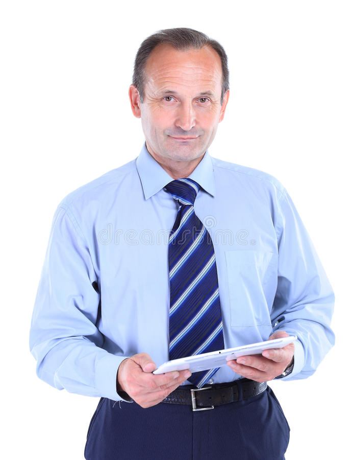 усмехаясь человек с планшетом. стоковое фото