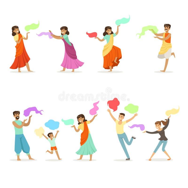 Усмехаясь люди танцуя в национальных индийских костюмах установленных для ярлыка конструируют Индийский танец, азиатская культура иллюстрация вектора