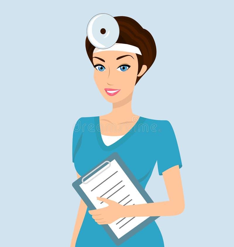 Усмехаясь otolaryngologist доктора бесплатная иллюстрация