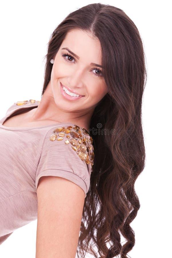 усмешка красивейших больших волос длинняя стоковое изображение