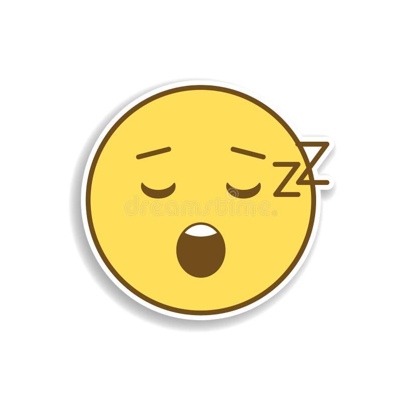 уснувший покрашенный значок стикера emoji Элемент emoji для мобильной иллюстрации приложений концепции и сети иллюстрация вектора