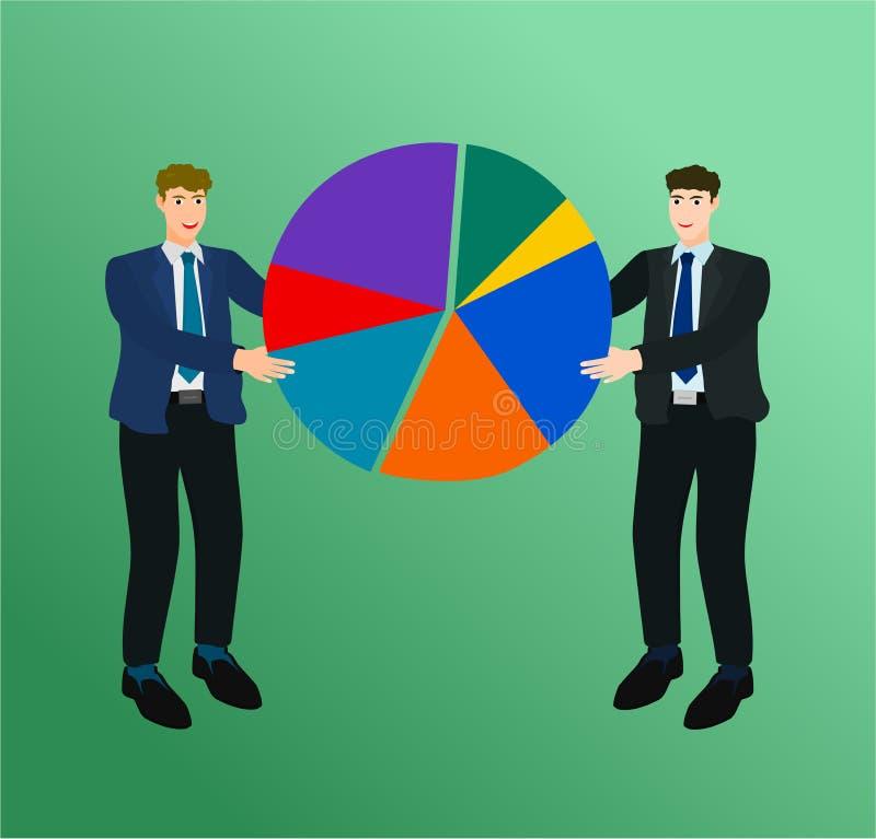 Успех бизнесмена соединяет концепцию долевой диограммы иллюстрация вектора