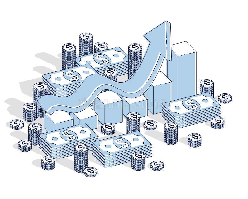 Успех и доход растя вверх концепция, wi бара stats диаграммы роста иллюстрация штока