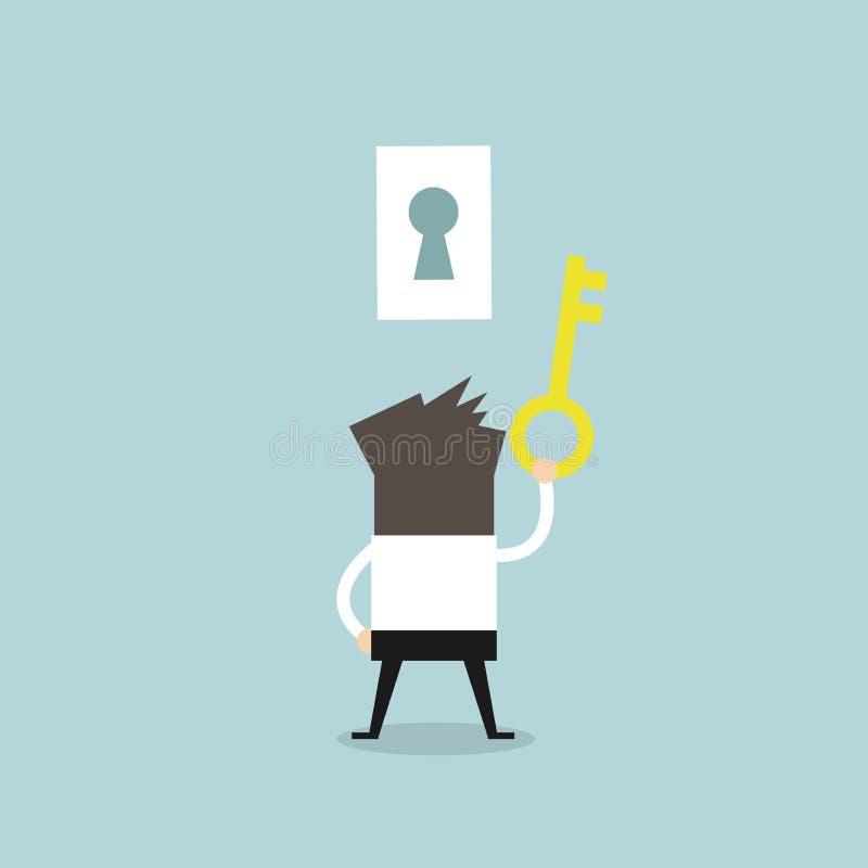 успех ключа удерживания бизнесмена к иллюстрация вектора