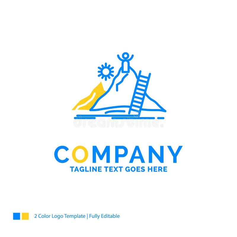 Успех, личный, развитие, руководитель, карьера голубое желтое Busin иллюстрация вектора