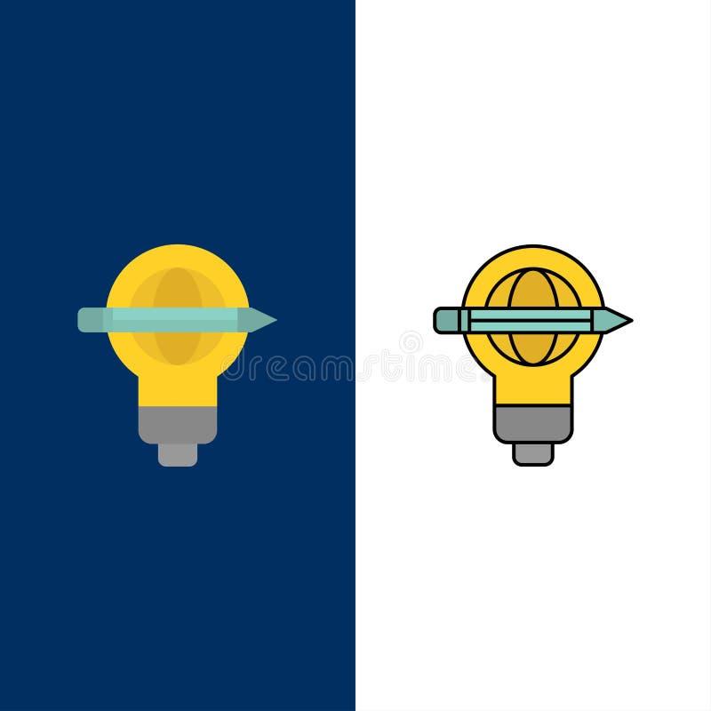 Успех, ручка, глобус, шарик, светлые значки Квартира и линия заполненный значок установили предпосылку вектора голубую иллюстрация штока