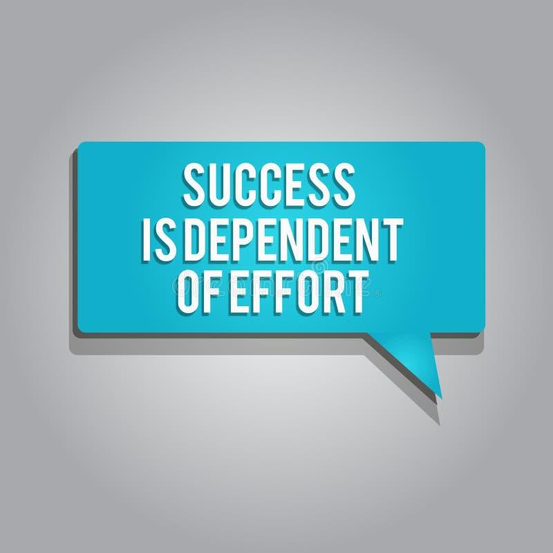 Успех текста сочинительства слова зависит усилия Концепция дела для усилия Make преуспеть пребывание упорное иллюстрация вектора