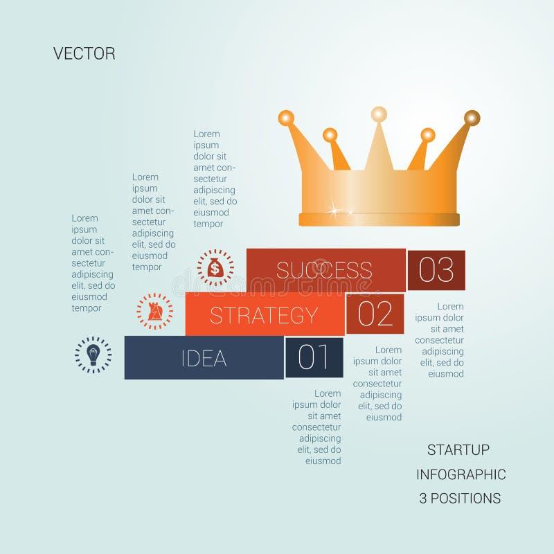 Успех шаблона вектора startup для 3 положений бесплатная иллюстрация