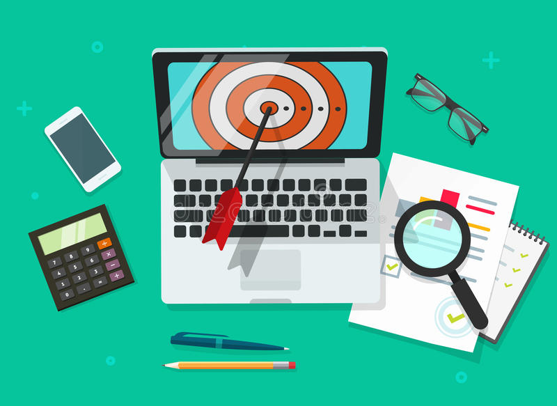 Успешная иллюстрация вектора достижения цели дела, компьтер-книжка с целью и финансовые данные анализировать иллюстрация штока