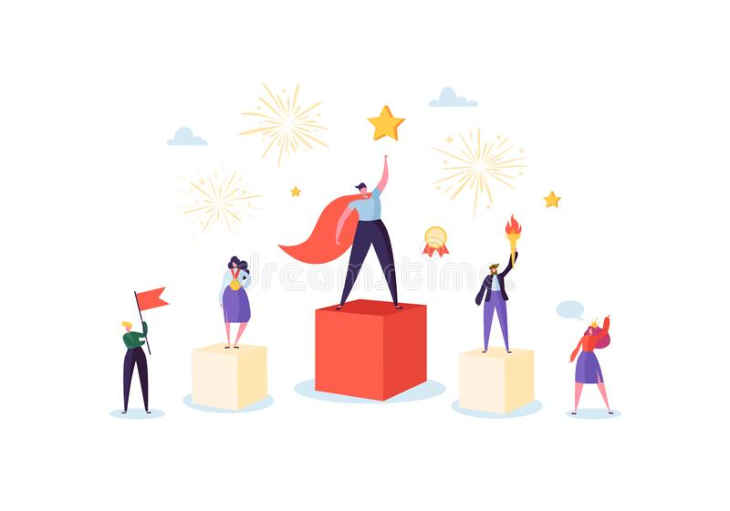 Успешная команда дела на подиуме Концепция руководства сыгранности Менеджер с выигрывая трофеем Человек и женщина руководителя иллюстрация штока