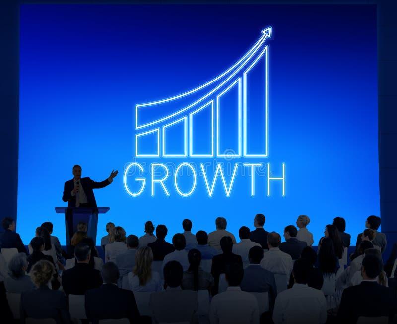 Успешная концепция графика роста увеличения достижения стоковые изображения rf