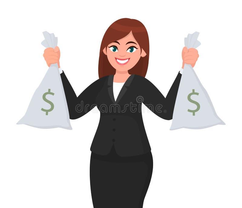 Успешная счастливая коммерсантка держа наличные деньги/деньги или валюту кладет в мешки в руках Принципиальная схема дела и финан иллюстрация штока