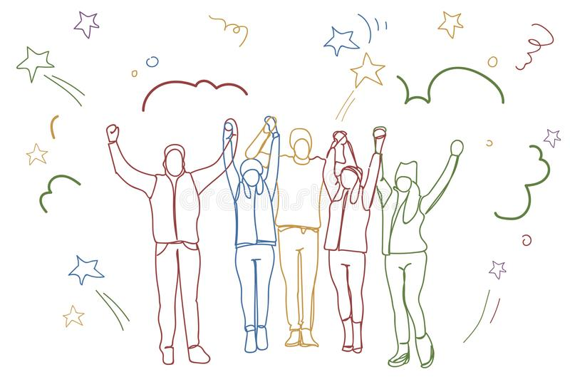 Успешное поднятое удерживание группы людей вручает счастливой команде дела красочные силуэты Doodle бесплатная иллюстрация