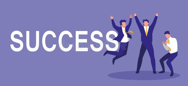 Успешные бизнесмены празднуя характеры иллюстрация вектора