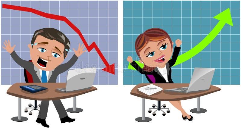 Успешные и неудачные бизнесмен и женщина иллюстрация вектора