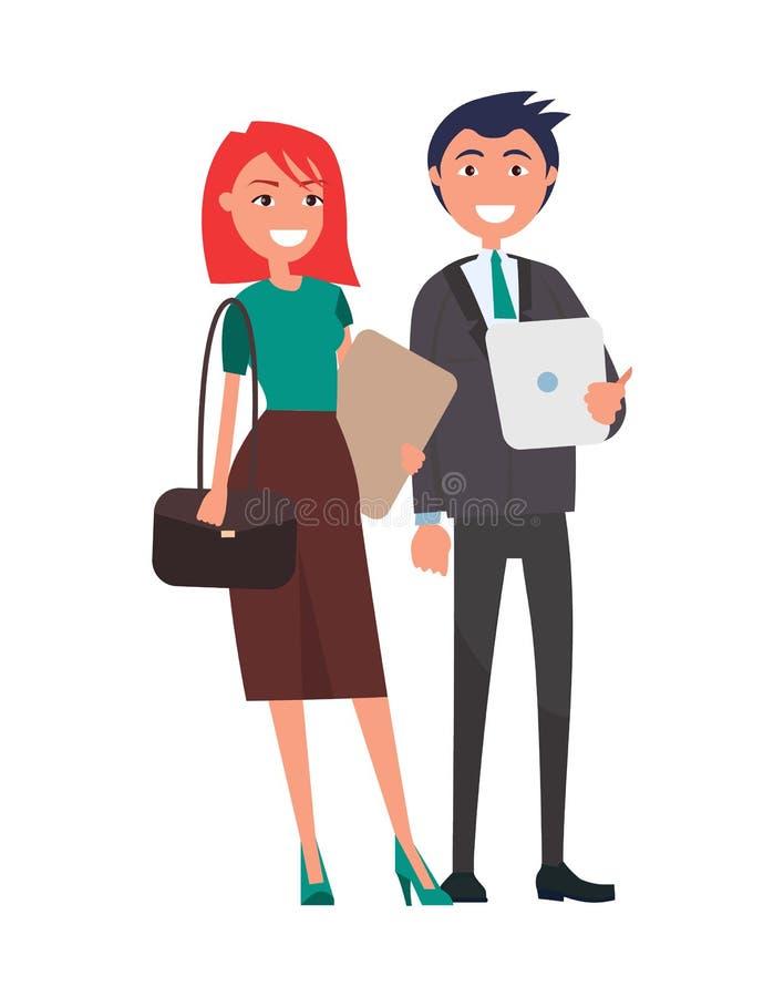 Успешные пары дела человека и женщины элегантные иллюстрация штока