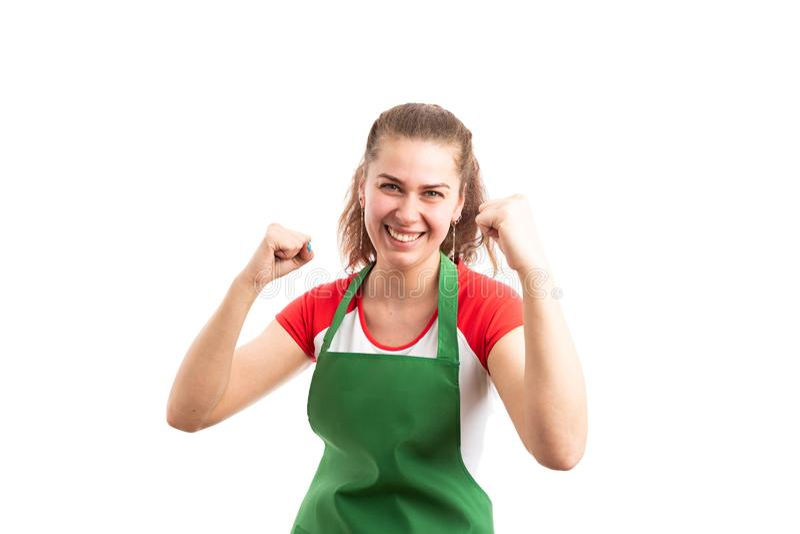 Успешные работник или storekeeper супермаркета женщины стоковые изображения rf