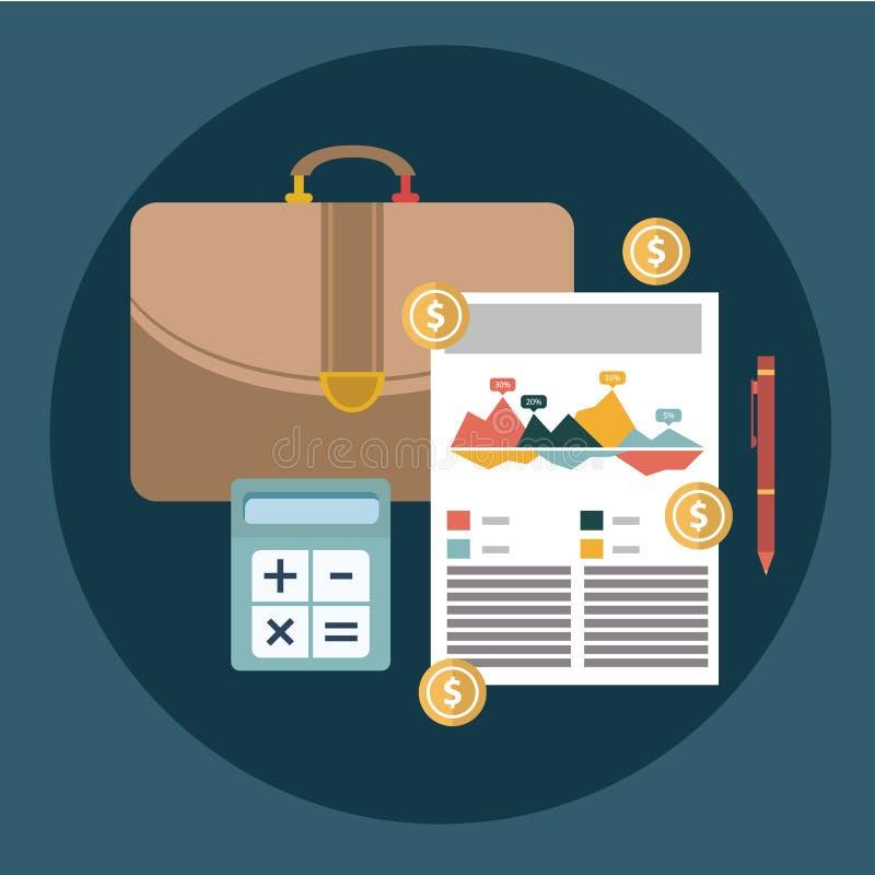 Успешные финансовые отчет о бизнес-плана и концепция бухгалтерии vector иллюстрация иллюстрация вектора