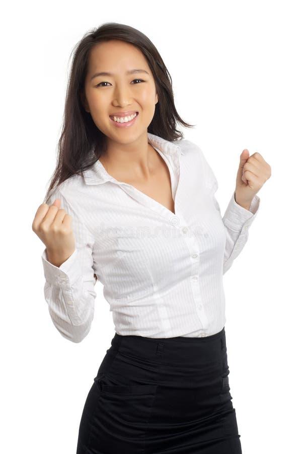 Успешный азиатский веселить женщины стоковое фото rf