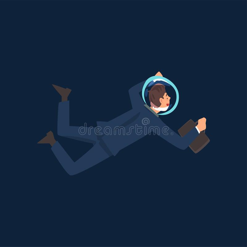 Успешный бизнесмен в летании шлема костюма и астронавта в космическом пространстве с иллюстрацией вектора портфеля иллюстрация штока