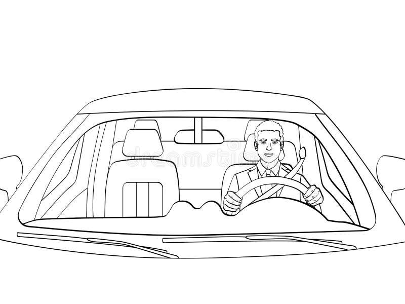 Успешный бизнесмен в роскошном автомобиле Человек управляя Cabriolet Изолированный объект крася, черные линии, белая предпосылка иллюстрация вектора
