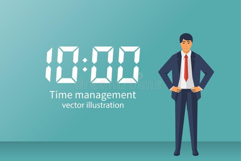 Успешный бизнесмен завоеванный время иллюстрация вектора