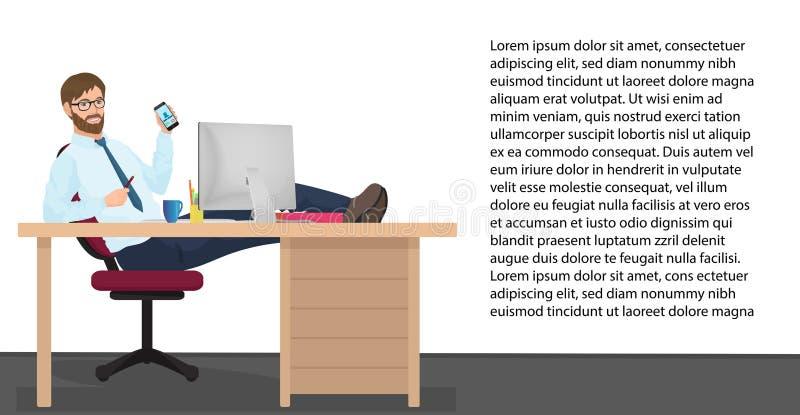 Успешный бизнесмен имея остатки на рабочем месте в офисе Менеджер человека вектора сидит на стуле, его ногах на таблице иллюстрация вектора