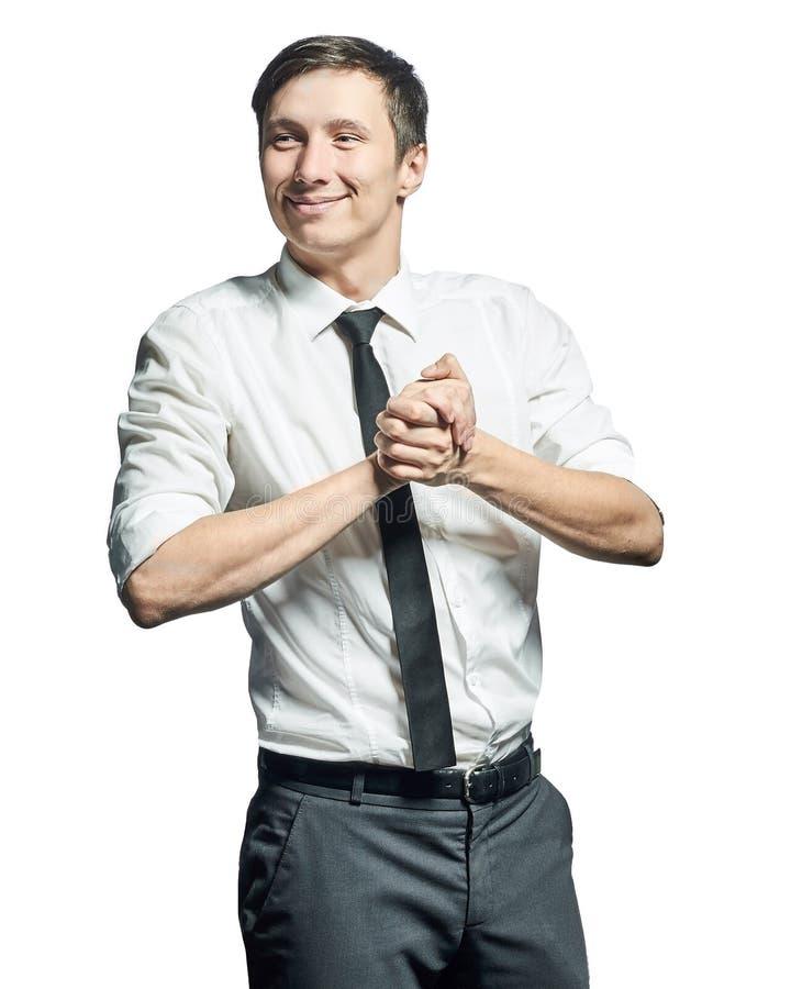 Успешный бизнесмен показывать знак успеха стоковая фотография