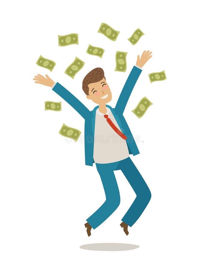 Успешный бизнесмен скачет и бросает деньги владение домашнего ключа принципиальной схемы дела золотистое достигая небо к alien ко иллюстрация вектора
