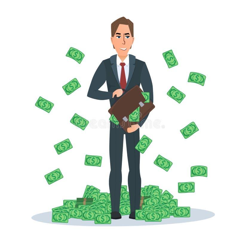 Успешный бизнесмен стоя около кучи долларов денег бесплатная иллюстрация