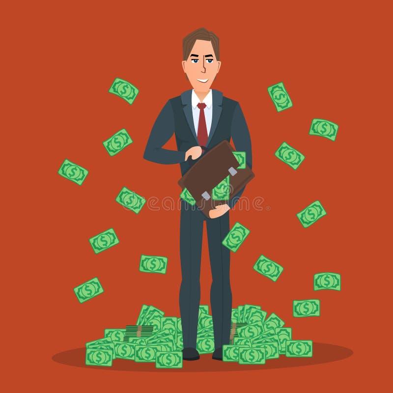 Успешный бизнесмен стоя около кучи долларов денег иллюстрация штока