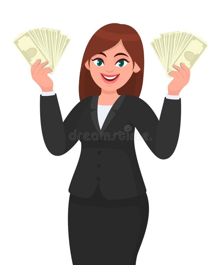 Успешный молодой показ бизнес-леди/банкноты наличные деньги удержания, деньги, доллар, валюта или в руках Современный образ жизни иллюстрация штока
