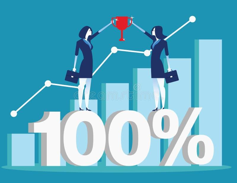 Успешный представлять команды дела и финансовая диаграмма r бесплатная иллюстрация