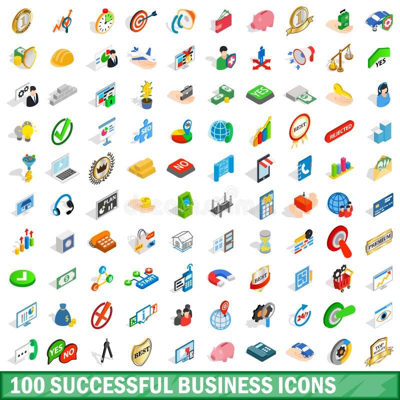 100 успешных установленных значков, равновеликий стиль дела иллюстрация вектора
